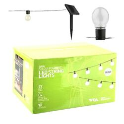 ORA Solar Powered String Lights 10 LED Clear Ball Waterproof Outdoor Lights