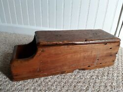 Antique Primitive Handmade Wood Candle Box wHinged Lid