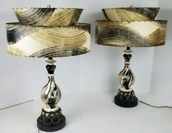 Vtg Pair Mid Century Modern Ceramic Swirled Table Lamps Tiered Fiberglass Shades $799.99