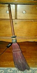 AAFA Antique Primitive Unique Burgundy Red Hearth Fireplace WITCH Broom