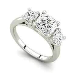 2.63 Ct 3 Stone Solitaire Cushion Cut Diamond Engagement Ring White Gold