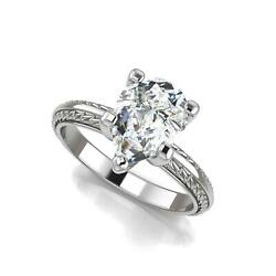 1.71 Ct Antique Knife Edge Leaf Pear Cut Diamond Engagement Ring White Gold