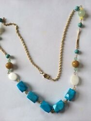 Summer Fun Gold Filled Turquoise faceted bead pearl quartz necklace  24