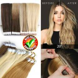 Tape In Real 100% Remy Human Hair Extensions Skin Weft Full Head 20304060Pcs