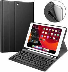 For iPad 10.2 7th 2019 Keyboard Case Soft TPU Back Cover Built-in Pencil Holder