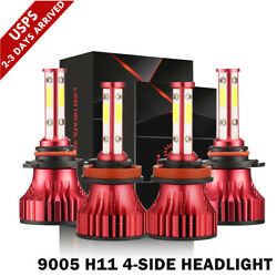 4-Sides Combo 9005+H11 LED Headlight Bulb High Low Beam Kit 6000K White 180000LM