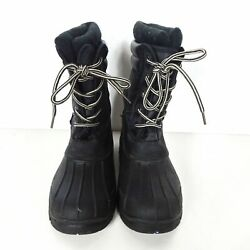 Rugged Bear Kids Winter Snow Boots Lace Up Mid Calf Black Size 2 $21.99