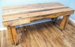 Sofa TV Table Handmade Reclaimed Pallet Wood UpCycled Vintage Rustic on Casters $165.00