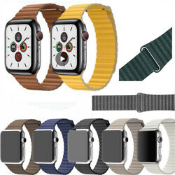 Magnetic Leather Loop Wrist Watch Band For Apple Watch Series 5 4 3 2 1