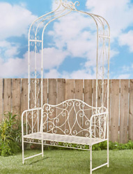 White Metal Arbor Bench for Garden Yard Seat for 2 Wrought Iron Trellis Arch