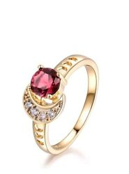 9 Ct Gold Plated Red Ruby CZ Moon Ring Size N-O