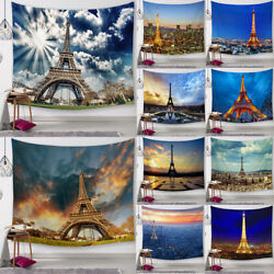 Eiffel Tower Tapestry Paris Cityscape Wall Hanging Living Room Dorm Ornaments $14.78