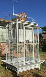 78quot; Large Wrought Iron Open Play Top Double Dome Ladder Parrot Macaw Bird Cage $178.98