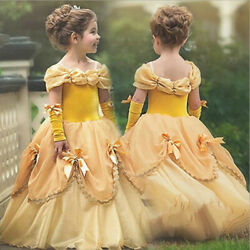 Beauty and the Beast Belle Princess Dress Kids Girl Halloween Cosplay Costume $17.98