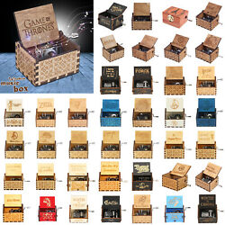 Vintage Wooden Manual Crank Music Box Collection Engraved Kids Toys Xmas Gifts