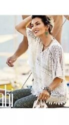 NEw CABI 5026 Cream Lace Boho Poncho Tunic Top Small Sheer Crochet Swim Coverup $21.94