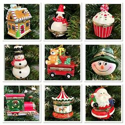 Hinged Trinket Box Ornament Porcelain Christmas Gift Hand Painted Many Designs  $11.96