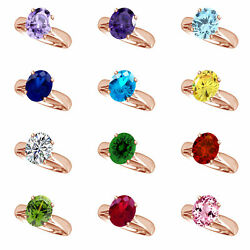 14k Rose Gold Over Oval Cut Engagement Ring Birthstone 12 Options $191.92 $62.37