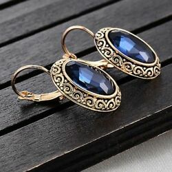 Awesome New Yellow Gold Plated Sapphire Blue Oval CZ Leverback Dangle Earrings