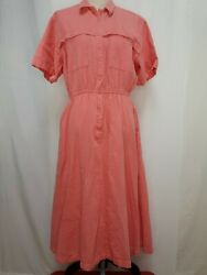 LL Bean Size 16 Dress Peach Orange Cool Weave Modest Cotton Pockets