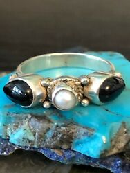 Exotic Onyx and Lusterous Pearl braided stack ring Sterling silver 4 g size 7