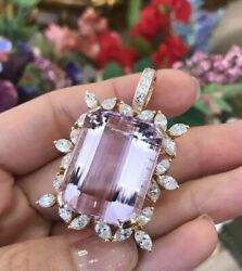 Large 57.34 ct. Kunzite Pendant with Diamonds in 18k Yellow Gold - HM2102EE