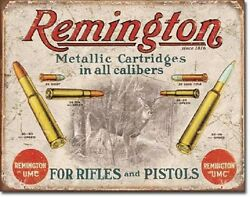 Remington For Rifles amp; Pistols Ammo Distressed Retro Vintage Ad Metal Tin Sign $9.99