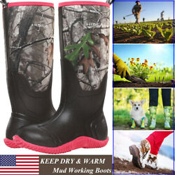 HISEA Women's BREATHABLE Rubber Boots Waterproof Snow & Rain Muck Hunting Boots