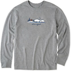 Life is Good. mens crusher tee long sleeve WINTER ON THE WATER Heather Gray
