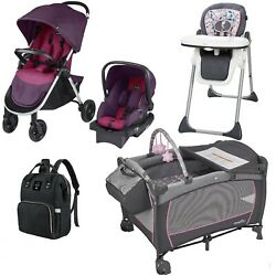 Portable Playard Stroller with Car Seat 3 in 1 High Chair Diaper Bag Combo Set $299.99