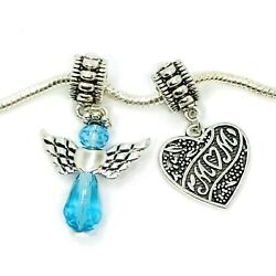 Mom Guardian Angel March Birthstone In Memory European Beads Dangle Charms 2pc $10.00