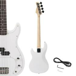 New White Beginner Practice School Student Band Electric 4 Strings Bass
