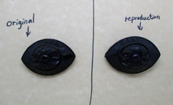 Large Reproduction Victorian Navette Eye Mourning Sentimental Horn Brooch $10.00