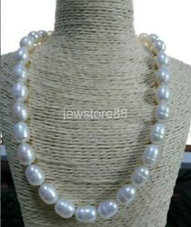 Huge 12-15mm natural baroque south seas pearl necklace 20inch 14K