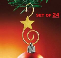 Gold Swirl Metal Christmas Ornament Hooks 24 Piece Set 24 Stylish Star Strong $8.76