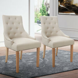 Dining Room Set of 2 Dining Chairs Elegant Tufted Design Fabric Modern Chairs