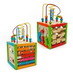 Children Kid Educational Learning Wooden Bead Maze Cube Activity Center Kid Gift