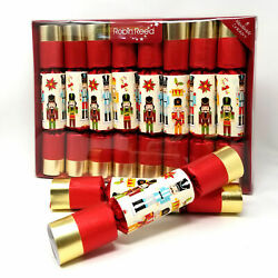 Robin Reed Red Nutcracker Christmas Crackers English Holiday Pack of 8 x 10 in