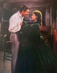 Gone With The Wind Print Rhett Butler & Scarlett O'Hara Scarlett in Green Velvet