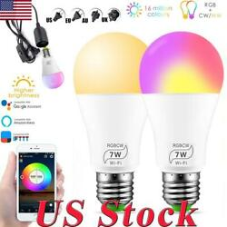 Wifi App Control Smart Multi-Color LED Lights Bulbs With E27 Base And Adapter US