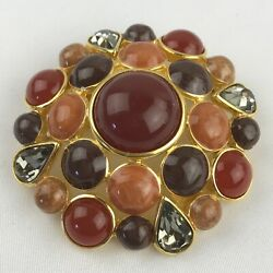 Joan Rivers Orange Red Cabochon Crystal Round Dome Brooch Pin Fall Autumn 2.5 In