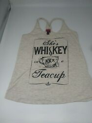 ALI ° DEE  Womens Whiskey Tank Top Size S Gray She's Whiskey in a Tea Cup