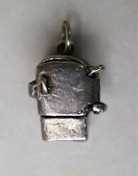 Vintage Silver Refrigerator Charm with door that opens and shelves inside