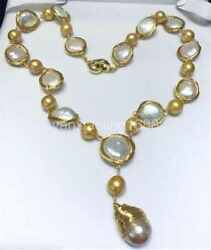 14-15mm white gold south sea baroque PEARL Necklace 24