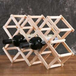 US Folding Wooden Wine Rack Free Standing Bar Kitchen Wall Wood Holder Home NEW
