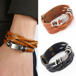 1 pcs Multilayer Braided Faux Leather Men's Cuff Wristband Bracelet Bangle