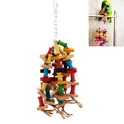 Colorful Wooden Cubes Blocks Bird Parrot Cage Chew Toys