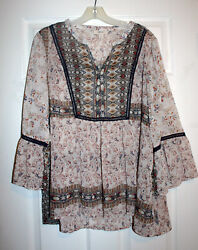 Style amp; Co.1X Plus BOHO Ivory Tapestry Print Chiffon Top Blouse Bell Cuff NWT $24.00