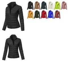 FashionOutfit Women's Solid Stand Collar Puffer Jacket