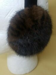 NEW REAL LEOPARD PRINTED MINK FUR EARMUFFS MADE IN USA $50.00